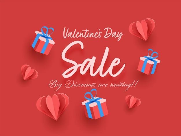Design de cartaz de promoção do dia dos namorados com corações de papel origami Vetor Premium