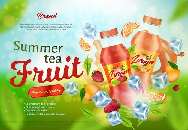 Design de cartaz de publicidade de chá de frutas de verão, banner