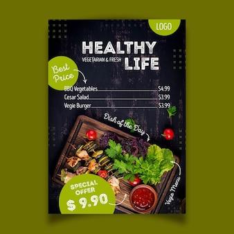 Design de cartaz de restaurante de comida saudável