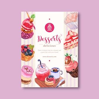 Design de cartaz de sobremesa com mousses, cupcake, torta, bolo, ilustração de geléia em aquarela.