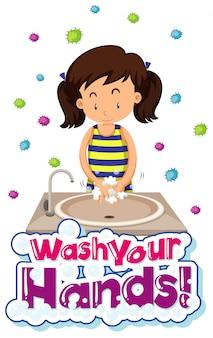 Design de cartaz de tema coronavírus com palavra lavar as mãos