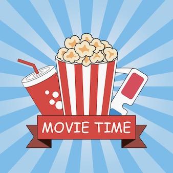 Design de cartaz de tempo de filme de cinema com pipoca copo de refrigerante em 3d e fita