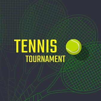 Design de cartaz de torneio de tênis com raquete e bola. modelo de vetor Vetor Premium