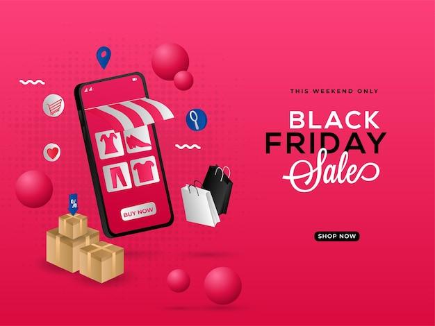 Design de cartaz de venda da black friday com e-shop em smartphone 3d