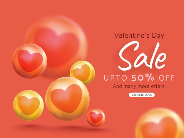 Design de cartaz de venda de dia dos namorados com oferta de desconto de 50% e bolas de coração 3d sobre fundo vermelho.