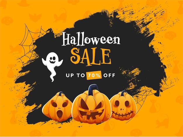 Design de cartaz de venda de halloween com oferta de desconto de 70%,
