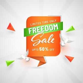 Design de cartaz de venda de liberdade com oferta de desconto de 50%, pombas voando e elemento de triângulo 3d em fundo de raios brancos.