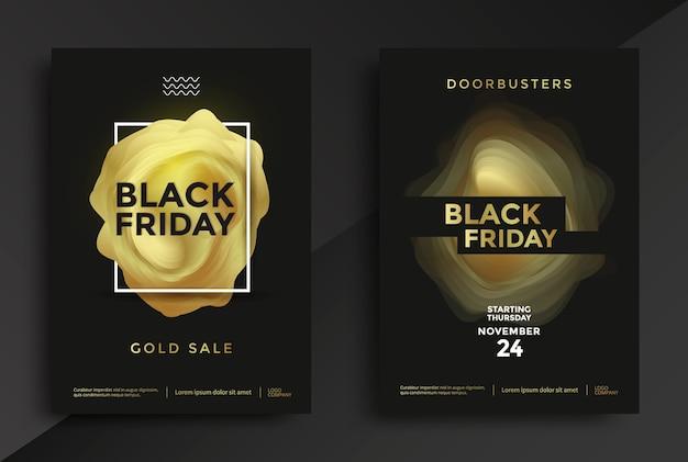 Design de cartaz de venda de sexta-feira negra com forma abstrata de ouro. ilustração vetorial