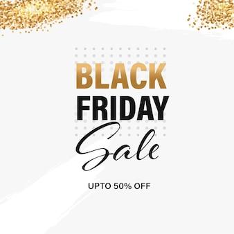 Design de cartaz de venda de sexta-feira negra com oferta de desconto de 50% e efeito de brilho dourado sobre fundo branco.