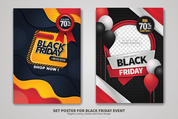 Design de cartaz de venda de sexta-feira negra com textura de fundo, design elegante, luxuoso e limpo. ilustração vetorial.