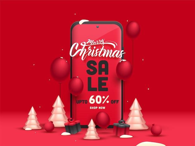 Design de cartaz de venda feliz natal com 60% de desconto