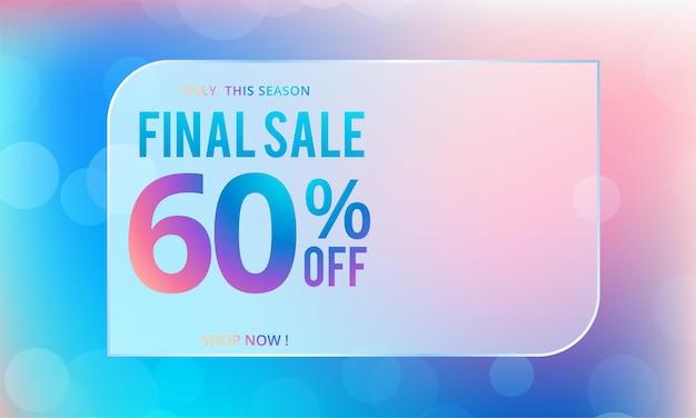 Design de cartaz de venda final com oferta de desconto de 60% em fundo laranja