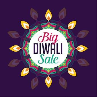 Design de cartaz de venda grande diwali