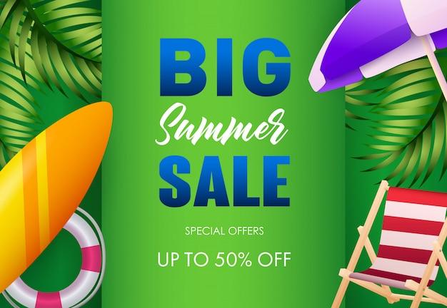 Design de cartaz de venda grande verão. lifebuoy, prancha de surf