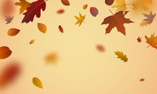 Design de cartaz de venda para o outono com folhas não caindo lindamente no fundo