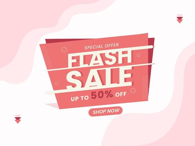 Design de cartaz de venda relâmpago com oferta de desconto de 50%