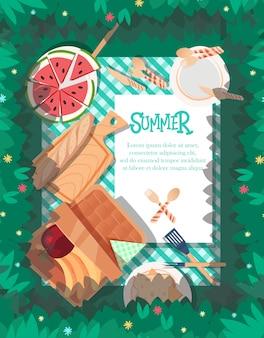 Design de cartaz de verão com fundo de toalha de mesa