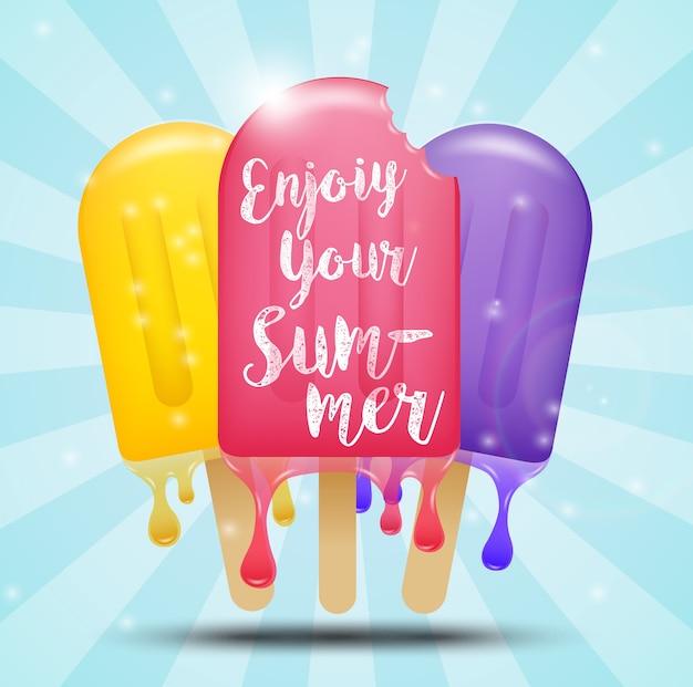 Design de cartaz de verão com picolé colorido