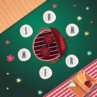 Design de cartaz de verão vista superior