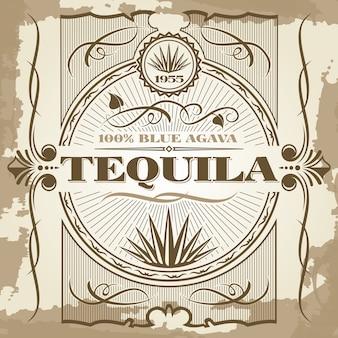 Design de cartaz de vetor tequila vintage