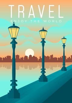 Design de cartaz de viagem criativo ilustrado