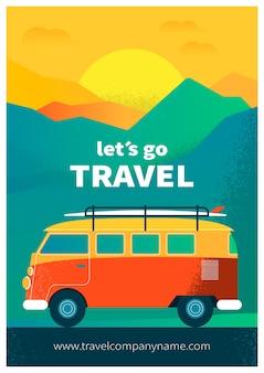 Design de cartaz de viagem ilustrado