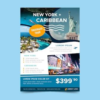 Design de cartaz de viagens com foto