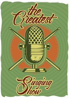 Design de cartaz decorativo com ilustração de um microfone e varas. composição de letras.