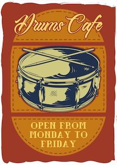 Design de cartaz decorativo com ilustração de um tambor e paus. composição de letras.