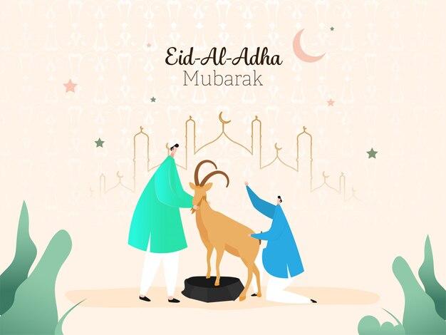 Design de cartaz do eid-al-adha mubarak com homens muçulmanos segurando uma cabra dos desenhos animados, lua crescente e mesquita de arte em linha