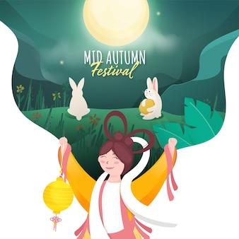 Design de cartaz do mid autumn festival com a deusa chinesa (chang'e) segurando uma lanterna e coelhos no fundo verde da natureza da lua cheia.