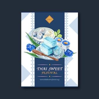 Design de cartaz doce tailandês com geléia em camadas, aquarela de ilustração de pudim.