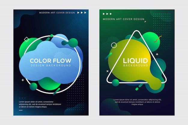 Design de cartaz e capa de fluido e líquido moderno dinâmico