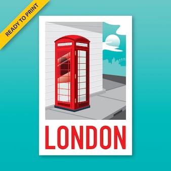 Design de cartaz, etiqueta e cartão postal de estilo vintage de uma cabine telefônica vermelha na esquina da rua de londres.