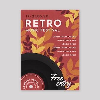 Design de cartaz festival de música retrô