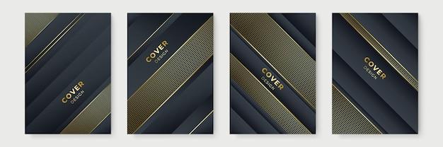 Design de cartaz moderno definido na cor preta e dourada. conjunto de design moderno de capa de listra dourada. padrão de linha diagonal dinâmica de ouro criativo de luxo. fundo de vetor premium