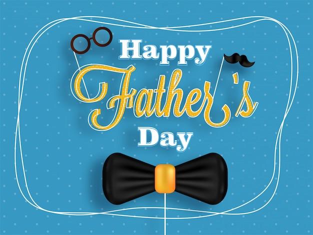 Design de cartaz ou banner para a celebração do dia do pai com texto elegante, arco na est azul
