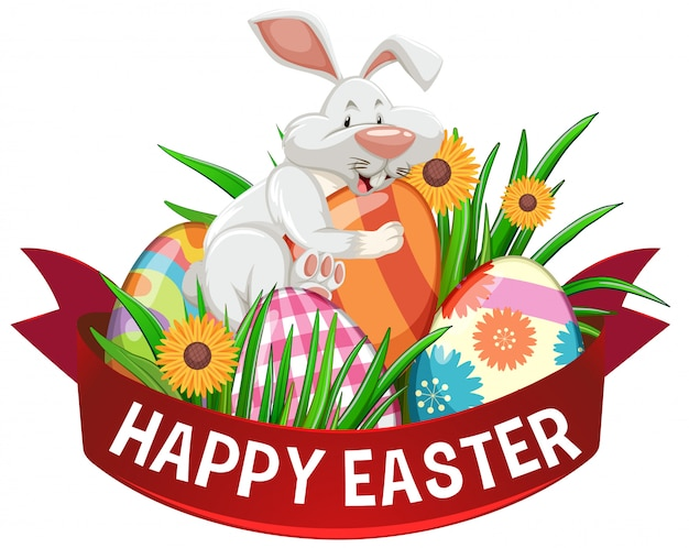 Design de cartaz para a páscoa com ovos pintados e coelho