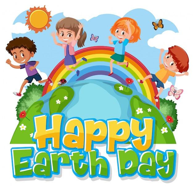 Design de cartaz para feliz dia da terra com crianças felizes na terra