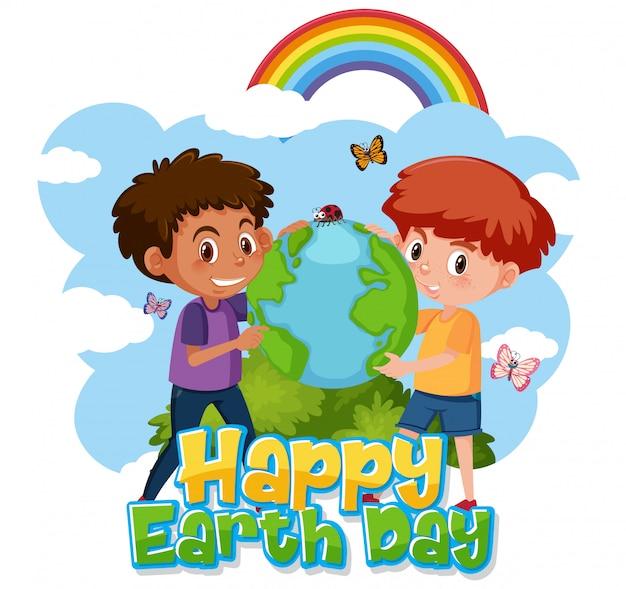 Design de cartaz para feliz dia da terra com dois meninos abraçando a terra