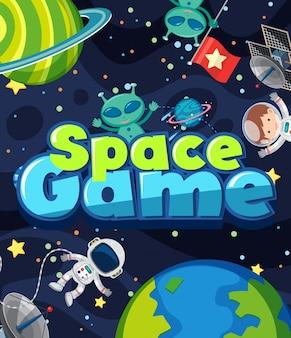 Design de cartaz para jogo espacial com alienígena e astronauta no espaço