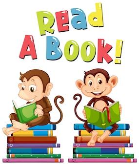 Design de cartaz para ler um livro com dois macacos lendo