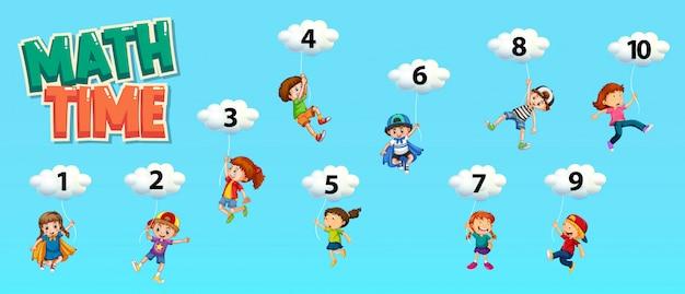 Design de cartaz para matemática com número um a dez no céu