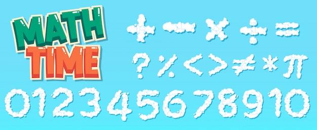 Design de cartaz para matemática com números e sinais