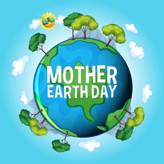Design de cartaz para o dia da mãe terra com terra azul e céu azul