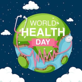 Design de cartaz para o dia mundial da saúde com a terra no fundo do céu