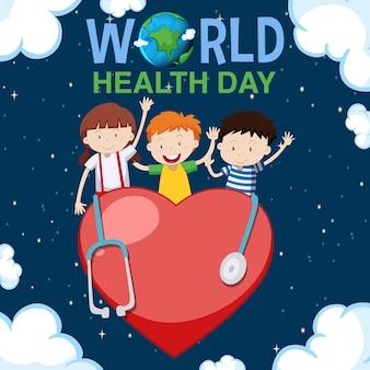 Design de cartaz para o dia mundial da saúde com crianças felizes no fundo
