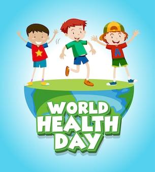 Design de cartaz para o dia mundial da saúde com crianças felizes
