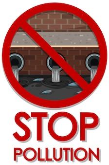 Design de cartaz para parar a poluição com água suja