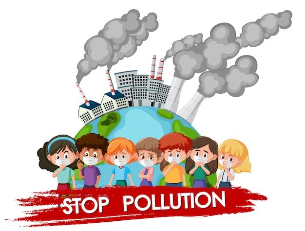 Design de cartaz para parar a poluição com crianças vestindo máscara